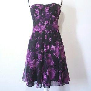 Guess strapless dress purple flowers size 12